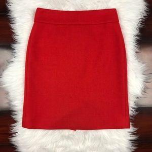 J. Crew Mini A line 100% Wool Skirt Petite Red